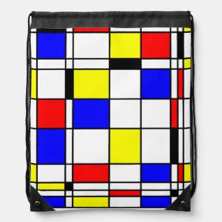 Mondrian art style drawstring bag