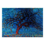 Mondrian - Avond (Evening) Red Tree Poster