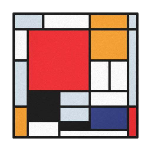 Mondrian - Composition With Large Red Plane Stretched Canvas Print