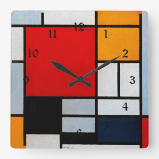 Mondrian - Composition with Large Red Plane Square Wall Clock