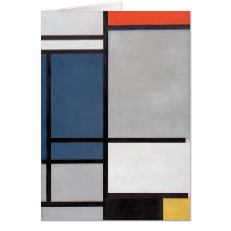 Mondrian Composition with Red, Blue, Black, Yellow Card