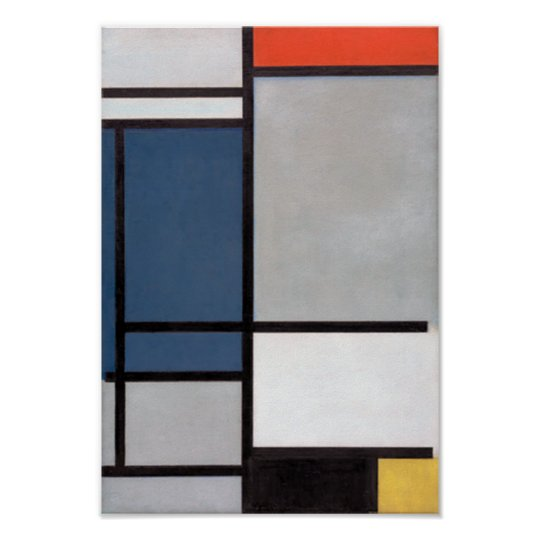 Mondrian Composition with Red, Blue, Black, Yellow Poster