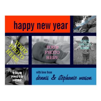 Mondrian-esque Colorblock Photo Collage Postcard