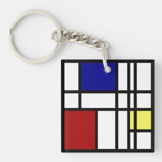 Mondrian Impression Art Key Ring