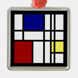 Mondrian Impression Art Silver-Colored Square Decoration