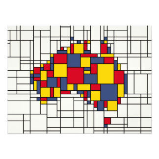 Mondrian inspired Australia Map Photo Print
