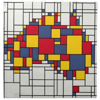 Mondrian inspired Australia Map Printed Napkins