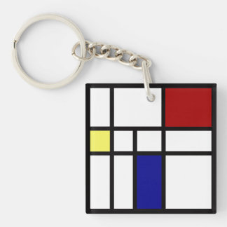 Mondrian Inspired Design Key Ring