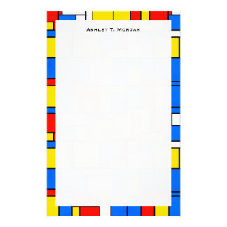 Mondrian Inspired Style Red Blue Yellow Pattern Custom Stationery