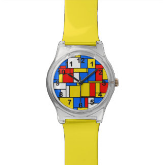 Mondrian Inspired Style Red Blue Yellow Pattern Watch