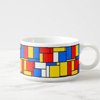 Mondrian Inspired Style Red Blue Yellow Pattern Chili Bowl