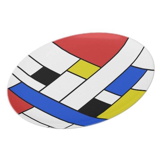 Mondrian Lines Melamine Plate
