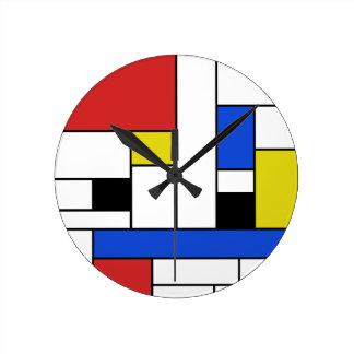 Mondrian Lines Round Wall Clock