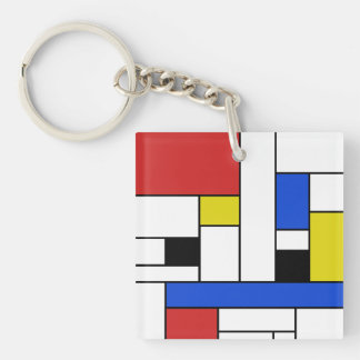 Mondrian Lines Square (double-sided) Keychain