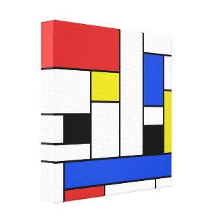 """Mondrian Lines Wrapped Canvas 12"""" x 12"""""""