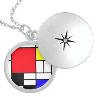 Mondrian Medium Sterling Silver Round Locket