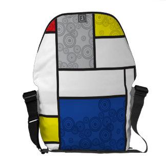 Mondrian Minimalist De Stijl Art Retro Circles Messenger Bags