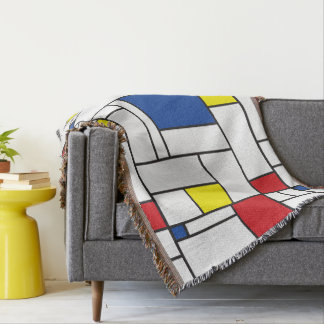 Mondrian Minimalist De Stijl Modern Art Blanket