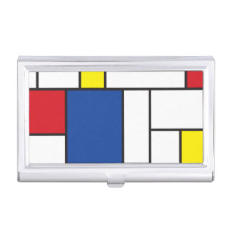 Mondrian Minimalist De Stijl Modern Art Custom Business Card Holder