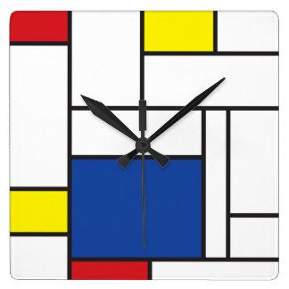 Mondrian Minimalist De Stijl Modern Art Wall Clock