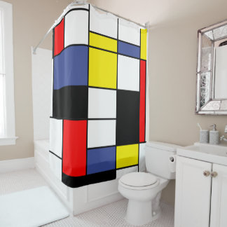 Mondrian, minimalist shower curtain