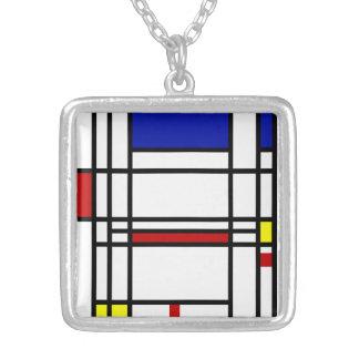 Mondrian Modern Art Silver Plated Necklace