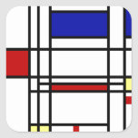 Mondrian Modern Art Square Sticker