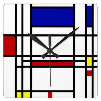 Mondrian Modern Art Square Wall Clock