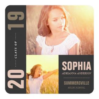 """Mondrian Modern Graduation Grad Photo Announcement 5.25"""" Square Invitation Card"""