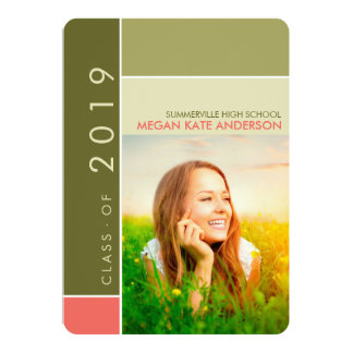 "Mondrian Modern Graduation Grad Photo Announcement 5"" X 7"" Invitation Card"