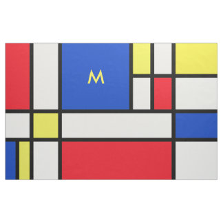 Mondrian Red Yellow Blue Fabric