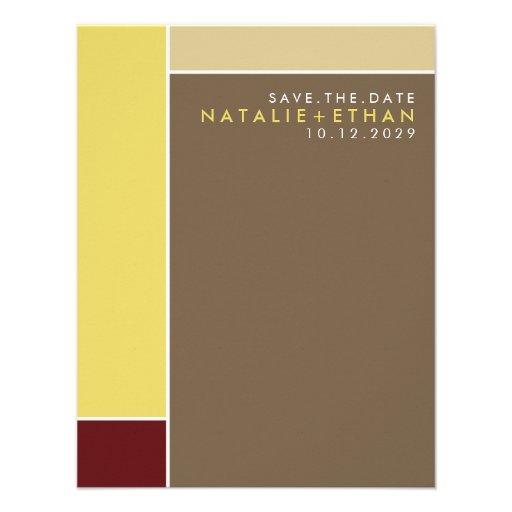 Mondrian Retro Mod Art Colorful Save The Date Personalized Invitations
