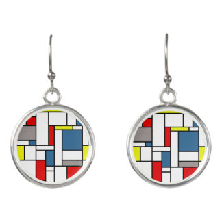 Mondrian style design earrings