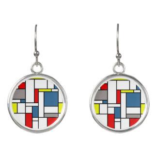Mondrian style design earrings