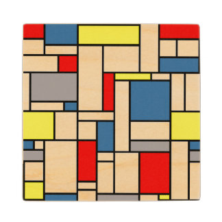 Mondrian style design wood coaster