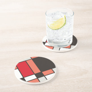 Mondrian style illustration beverage coaster