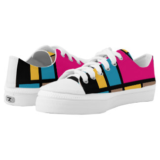 Mondrian style modern cool colors 1 printed shoes
