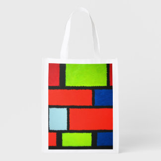 Mondrian Style Orange Green Blue Fuzzy Abstract Reusable Grocery Bag