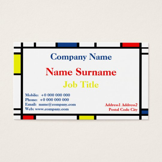 Mondrian Style Standard Business Card