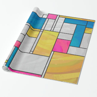 Mondrian Yellow Pink Blue Print Wrapping Paper
