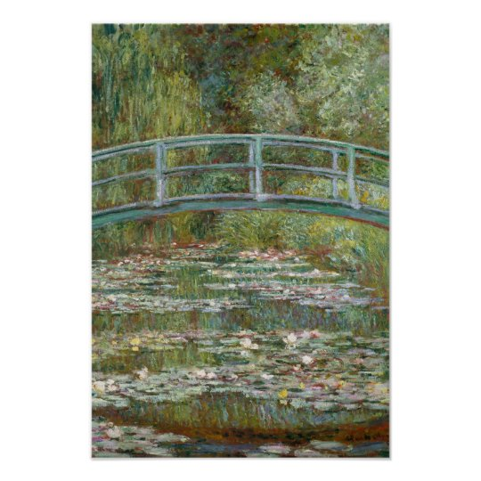Monet Art Bridge over a Pond of Water Lilies Poster