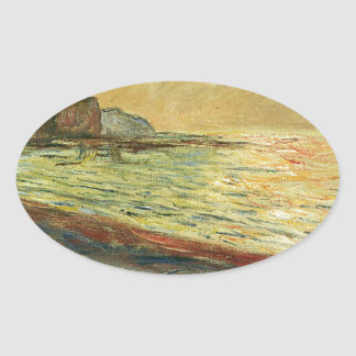 Monet Beach At Pourville Oval Sticker