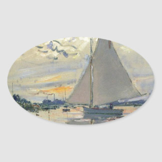 Monet boat water Sailing in Le-Petit-Gennevillie Oval Sticker