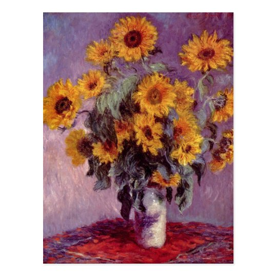 Monet, Claude Stilleben mit Sonnenblumen 1881 Tech Postcard