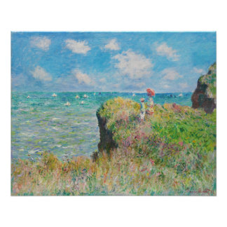 Monet Cliff Walk at Pourville Poster