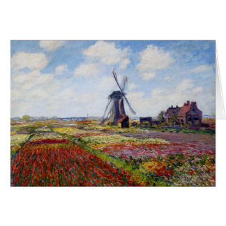 Monet Field of Tulips With Windmill Greeting Card