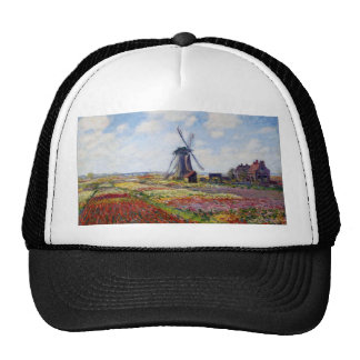 Monet Field of Tulips With Windmill Hat