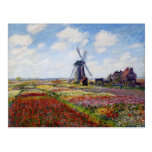 Monet Field of Tulips With Windmill Postcard