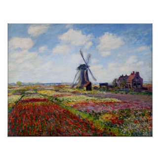 Monet Field of Tulips With Windmill Poster