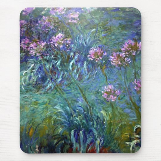 Monet Fine Art Flowers Agapanthus Mousepad
